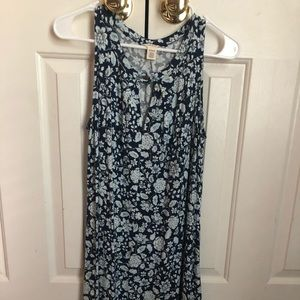 Navy Floral Print Dress with Lace Design on Bottom